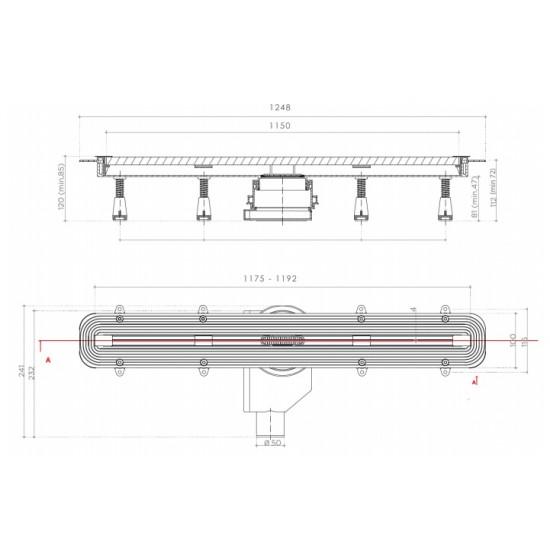 Душевой лоток Pestan Confluo Slim Line 1150