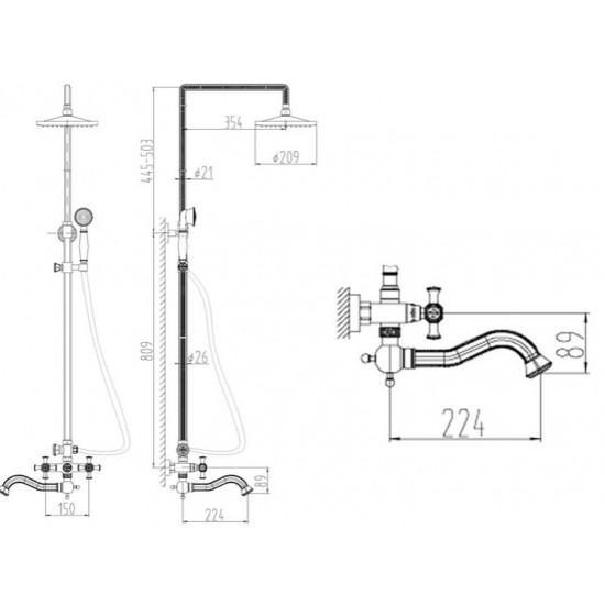 Zorg A 7002DS-BR душевая стойка